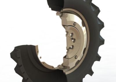 Tylne koło ciągnika rolniczego w przekroju